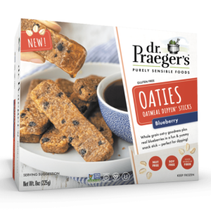 Dr. Praeger's Oaties Reviews and Info - Dairy-Free, Gluten-Free, Soy-Free Oatmeal Dippin' Sticks in Original, Blueberry, and Chocolate Chip. Low Sugar, Whole Food, and Plant-Based.