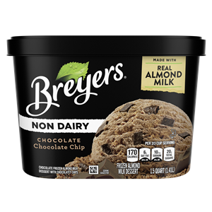 Breyers Non-Dairy Ice Cream Reviews and Info - Almond Milk Frozen Dessert that's dairy-free, vegan, and sold in large tubs. Now in FOUR flavors. pictured: Chocolate Chocolate Chip