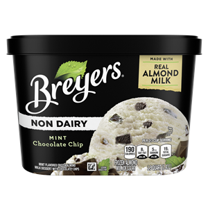 Breyers Non-Dairy Ice Cream Reviews and Info - Almond Milk Frozen Dessert that's dairy-free, vegan, and sold in large tubs. Now in FOUR flavors. pictured: Mint Chocolate Chip