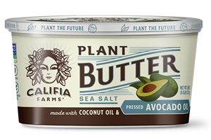 Califia Farms Plant Butter is a cultured dairy-free, gluten-free, soy-free, vegan spread. Pictured: Sea Salt with Avocado Oil
