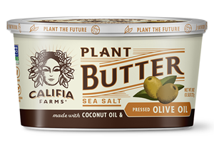 Califia Farms Plant Butter is a cultured dairy-free, gluten-free, soy-free, vegan spread. Pictured: Sea Salt with Olive Oil