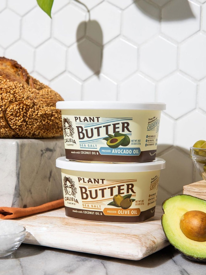 Califia Farms Plant Butter is a cultured dairy-free, gluten-free, soy-free, vegan spread. Pictured: Both