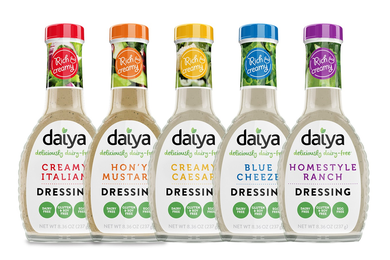 Daiya Dairy-Free Dressings Reviews and Info - Vegan, gluten-free, nut-free, soy-free creamy dressings - they're even made without coconut, palm, sesame, legumes and carrageenan!
