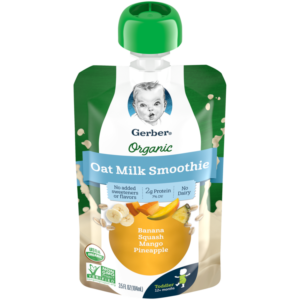 Gerber Organic Oat Milk Smoothies Reviews and Information - Dairy-free, soy-free, plant-based, and no added sugar! Pictured: Banana, Squash, Mango, Pineapple