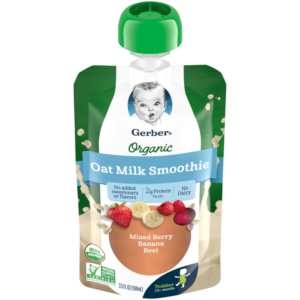 Gerber Oat Milk Smoothies Reviews and Information - Dairy-free, soy-free, plant-based, and no added sugar! Pictured: Mixed Berry, Banana, Beet