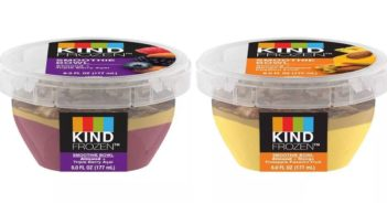 Kind Frozen Smoothie Bowls Reviews and Info - Layered dairy-free, vegan smoothies sold in the ice cream section (single serves).
