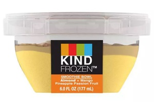 Kind Frozen Smoothie Bowls Reviews and Info - Layered dairy-free, vegan smoothies sold in the ice cream section (single serves). Pictured: Almond Mango Pineapple Passion Fruit