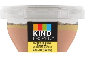 Kind Frozen Smoothie Bowls Reviews and Info - Layered dairy-free, vegan smoothies sold in the ice cream section (single serves). Pictured: Almond Chocolate Banana