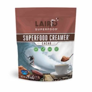 Laird Superfood Creamer Reviews and Info - Dairy-Free, Plant-Based, Paleo, Natural, Healthy Powdered Creamers in 8 Flavors plus Singles. PIctured: Cacao