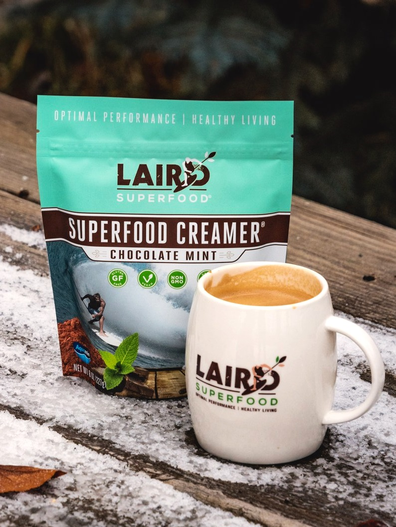 Laird Superfood Creamer Reviews and Info - Dairy-Free, Plant-Based, Paleo, Natural, Healthy Powdered Creamers in 8 Flavors plus Singles. PIctured: Chocolate Mint