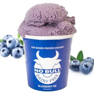 No Bull Ice Cream (Dairy-Free and Vegan) Reviews and Information - comes in 8 oat milk-based flavors. Pictured: Blueberry Pie