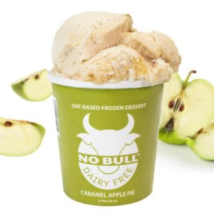 No Bull Ice Cream (Dairy-Free and Vegan) Reviews and Information - comes in 8 oat milk-based flavors. Pictured: Caramel Apple Pie