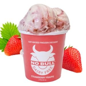 No Bull Ice Cream (Dairy-Free and Vegan) Reviews and Information - comes in 8 oat milk-based flavors. Pictured: Strawberry Frappe