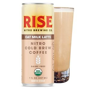 Rise Nitro Oat Milk Lattes Reviews and Info - Dairy-free, Vegan, and Made with Rise Brewing's own no sugar added oat milk. Pictured: Cold Brew Coffee Oat Milk Latte