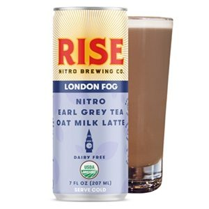 Rise Nitro Oat Milk Lattes Reviews and Info - Dairy-free, Vegan, and Made with Rise Brewing's own no sugar added oat milk. Pictured: London Fog