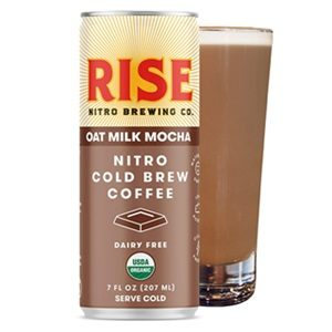Rise Nitro Oat Milk Lattes Reviews and Info - Dairy-free, Vegan, and Made with Rise Brewing's own no sugar added oat milk. Pictured: Mocha