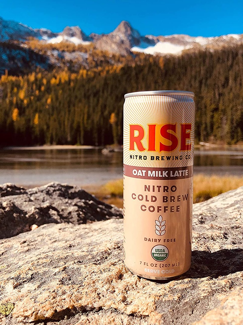 Rise Nitro Oat Milk Lattes Reviews and Info - Dairy-free, Vegan, and Made with Rise Brewing's own no sugar added oat milk.