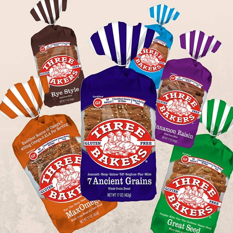 Three Bakers Gluten Free Bread and Buns - all dairy-free, soy-free, non-GMO and made with whole grains