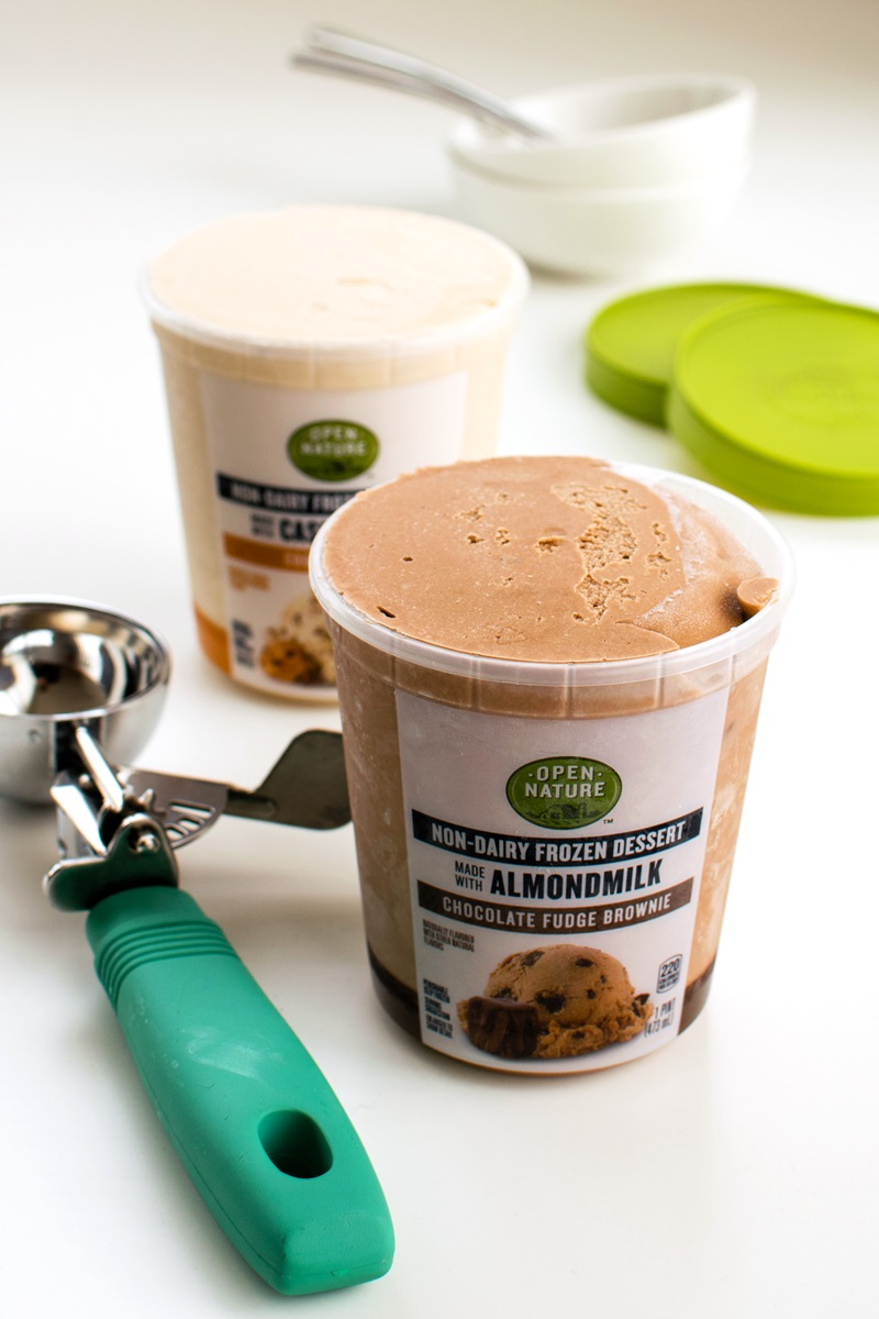 Open Nature Almondmilk Non-Dairy Frozen Dessert Reviews and Info - dairy-free, vegan ice cream in three almond-based flavors.