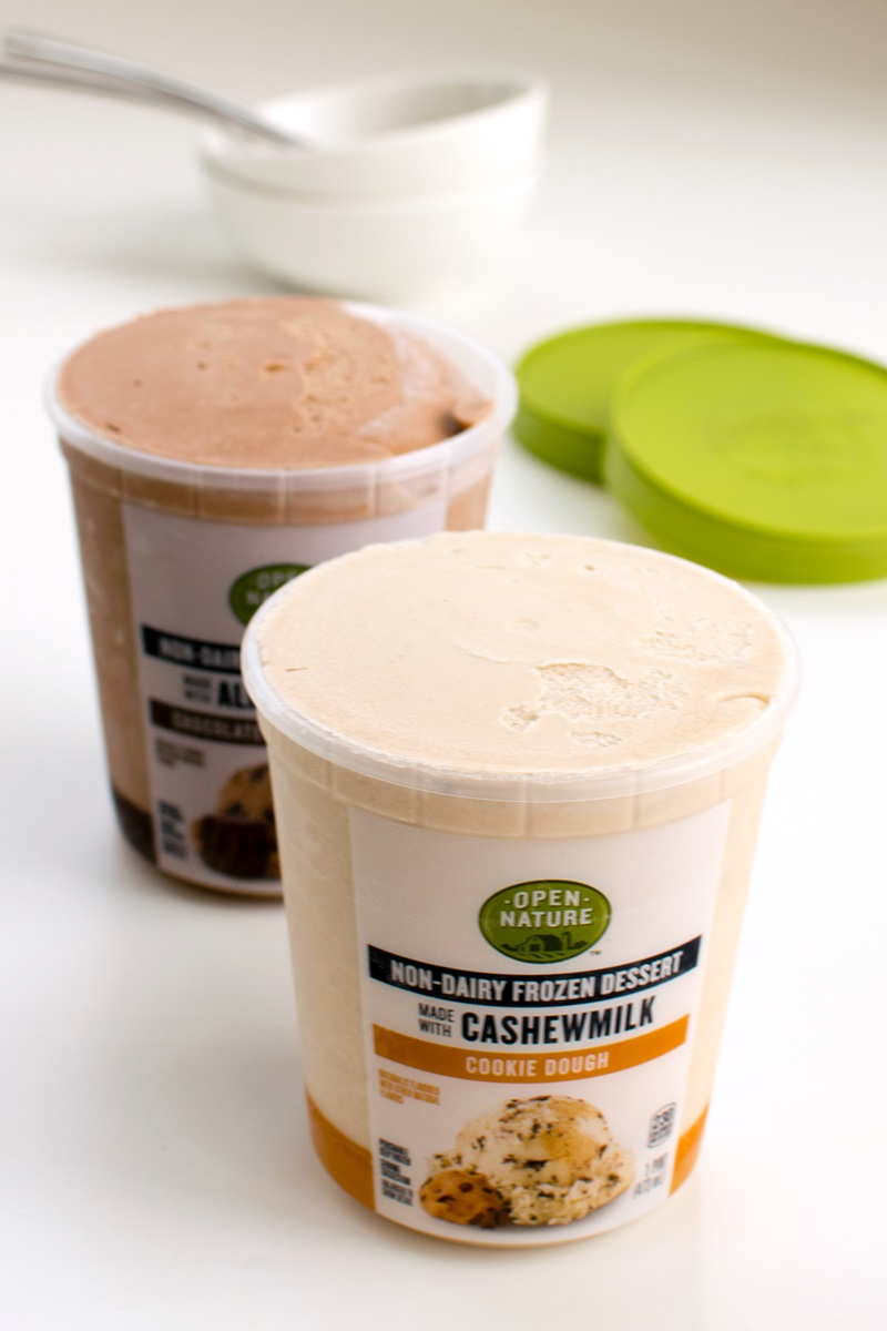 Open Nature Cashewmilk Non-Dairy Frozen Dessert Reviews and Info - dairy-free, vegan ice cream in three cashew-based flavors.