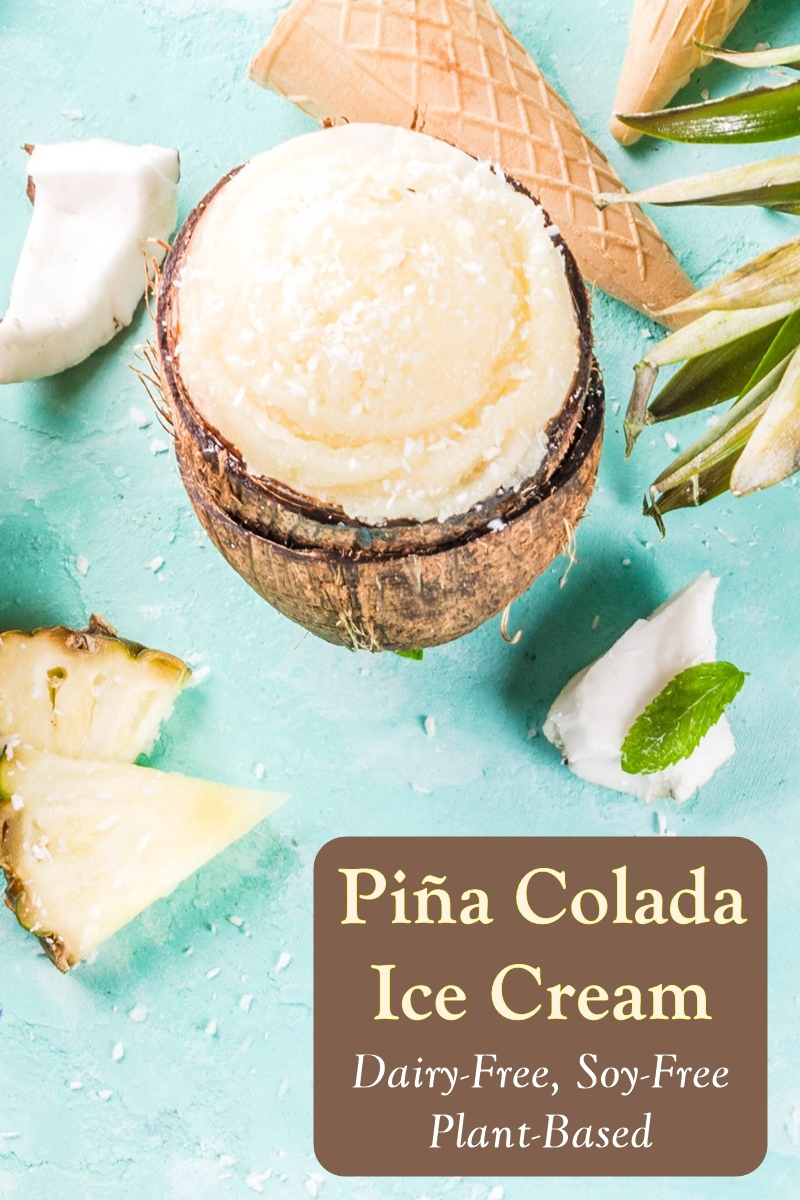 Dairy-Free Piña Colada Ice Cream Recipe - just like the drink, but a frozen dessert! Also vegan and soy-free.