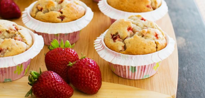 Bakery-Style Strawberry Vanilla Muffins that Just Happen to be Vegan