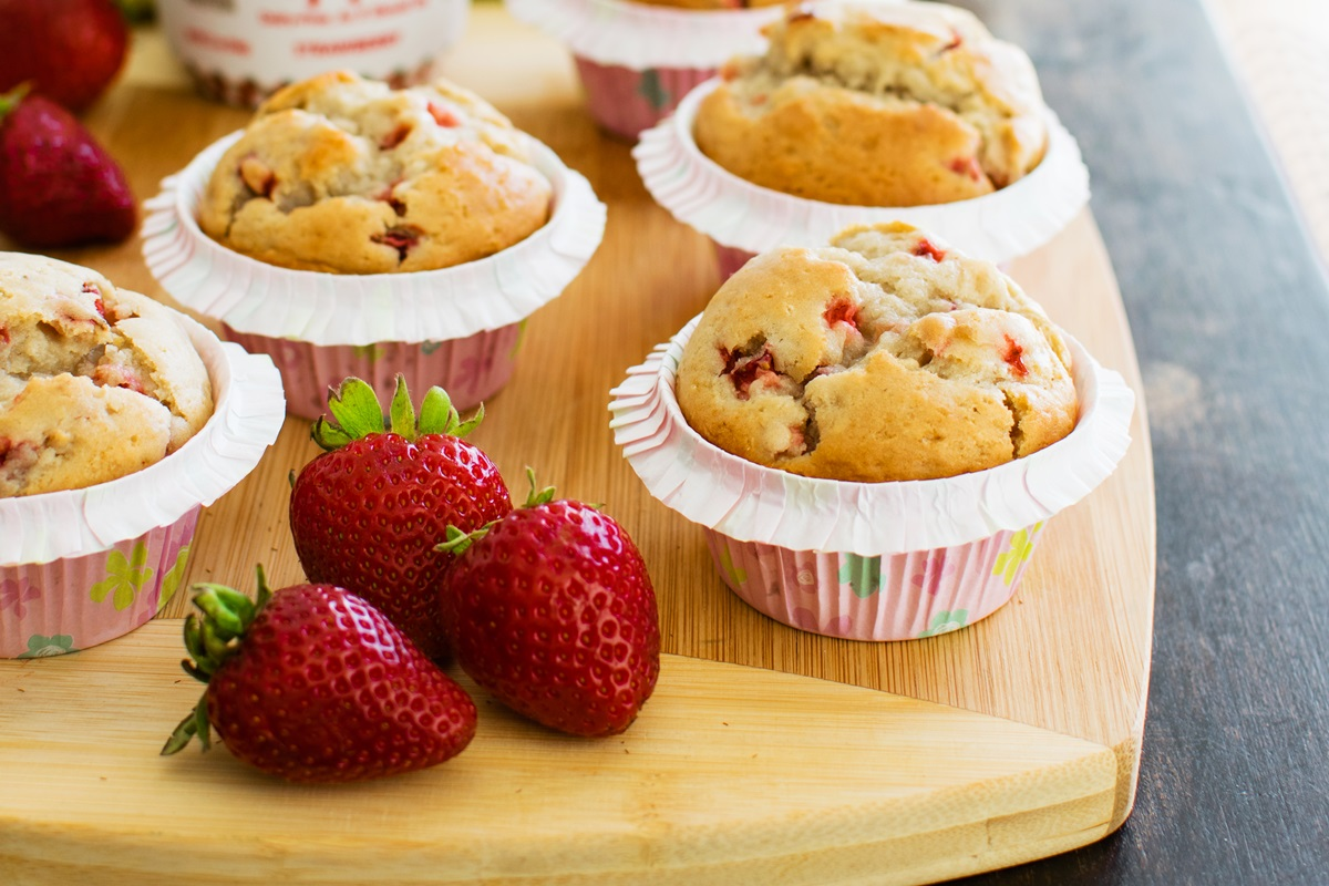 Bakery-Style Vegan Strawberry Vanilla Muffins Recipe - dairy-free, egg-free, soy-free, nut-free, with light, fluffy, moist and tender crumb.