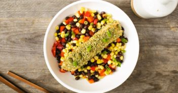 One-Dish Pumpkin Seed Crusted Salmon with Mexican Roasted Corn and Black Beans Recipe - naturally gluten-free, dairy-free, grain-free, nut-free, and soy-free