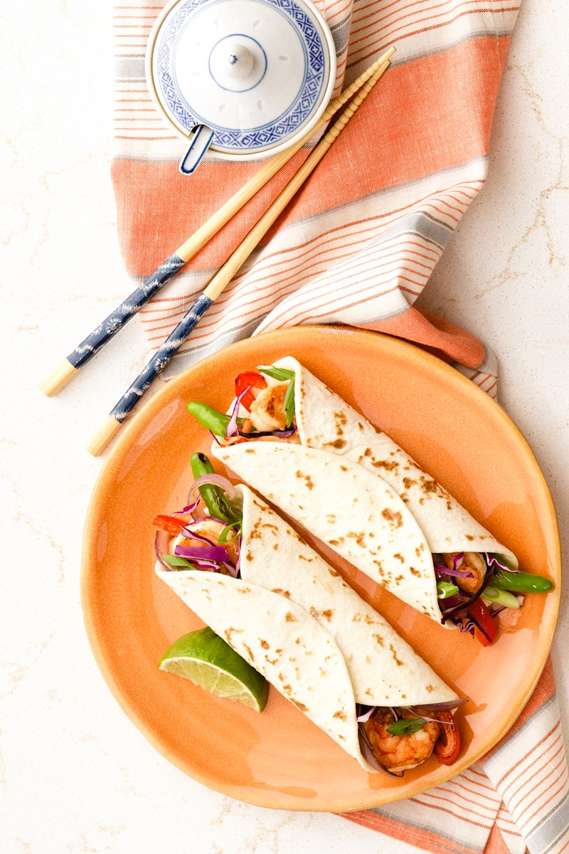 Asian Fajitas Recipe with Sizzling Shrimp and Shishitos. Dairy-free, nut-free dinner with gluten-free options. Versatile Mexican-Asian fusion dish that's easy!