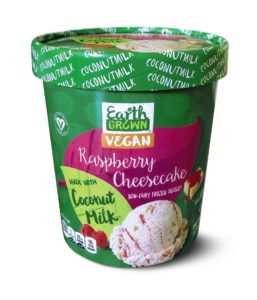 Earth Grown Coconut Milk Ice Cream Reviews and Info - Aldi's Non-Dairy Frozen Dessert Pints made with Coconut Milk Base. Vegan Certified. Pictured: Raspberry Cheesecake