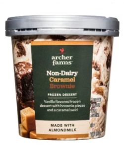Archer Farms Non-Dairy Ice Cream Reviews and Info - Target brand of dairy-free and vegan frozen dessert in 7 indulgent, dessert-forward flavors. Pictured: Caramel Brownie