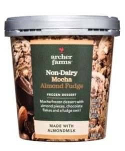 Archer Farms Non-Dairy Ice Cream Reviews and Info - Target brand of dairy-free and vegan frozen dessert in 7 indulgent, dessert-forward flavors. Pictured: mocha almond fudge