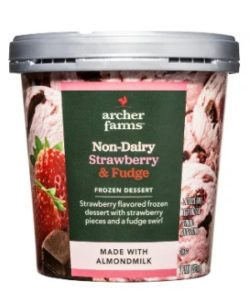 Archer Farms Non-Dairy Ice Cream Reviews and Info - Target brand of dairy-free and vegan frozen dessert in 7 indulgent, dessert-forward flavors. Pictured: strawberry and fudge
