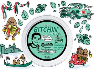 Bitchin' Sauce Reviews and Information - Dairy-Free, Plant-Based, Keto-Friendly - almond-based dip, spread, or sauce in several all-natural flavors. Pictured: Pesto