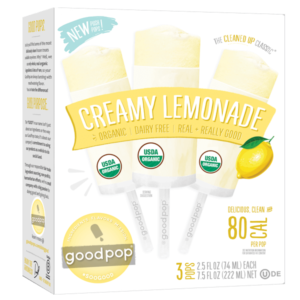 Goodpop Creamy Push Pops Reviews and Info - dairy-free, vegan, all natural. Available in Creamy Lemonade, Orange, and Strawberry