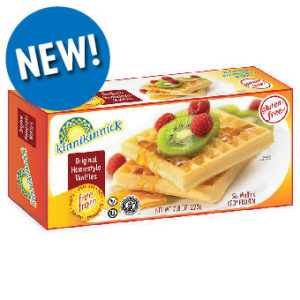 Kinnikinnick Frozen Waffles Reviews and Info - Now vegan, gluten-free, dairy-free, egg-free, nut-free, and soy-free. Available in 3 Homestyle Flavors: Original, Blueberry, Cinnamon & Brown Sugar