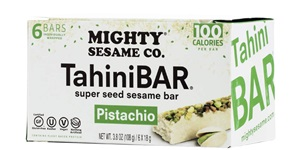 Mighty Sesame Tahini Bars Reviews and Info - Halva Energy Bars with dessert-like taste. Made with sesame seeds, dairy-free, gluten-free, soy-free, and vegan. In Vanilla, Pistachio, and Cocoa Nibs Flavors.