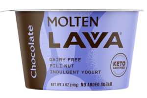 Molten Lavva Yogurt Reviews and Info - Dairy-Free, Gluten-Free, Vegan, and Keto-Friendly. No added sugars, 50 billion probiotics. Pictured: Chocolate