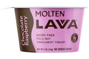 Molten Lavva Yogurt Reviews and Info - Dairy-Free, Gluten-Free, Vegan, and Keto-Friendly. No added sugars, 50 billion probiotics. Pictured: Chocolate Raspberry