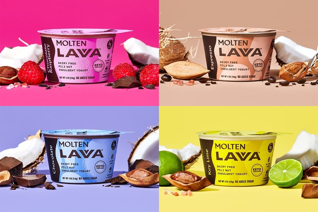 Molten Lavva Yogurt Reviews and Info - Dairy-Free, Gluten-Free, Vegan, and Keto-Friendly. No added sugars, 50 billion probiotics. Pictured: Four flavors