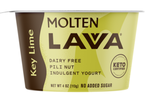 Molten Lavva Yogurt Reviews and Info - Dairy-Free, Gluten-Free, Vegan, and Keto-Friendly. No added sugars, 50 billion probiotics. Pictured: Key Lime