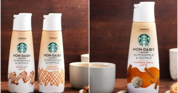 Starbucks Non-Dairy Creamers Reviews and Info - dairy-free, soy-free, vegan coffee creamers from the Starbucks at Home brand. Pictured: Caramel Macchiato and Hazelnut Latte