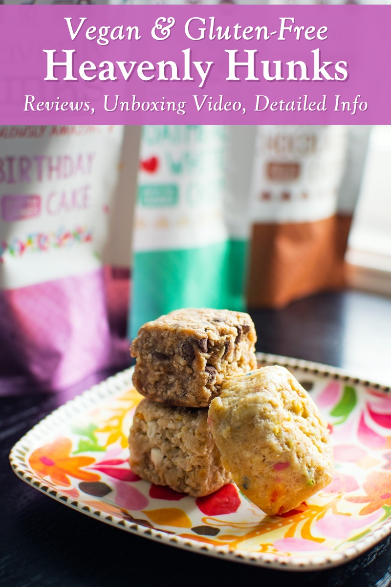 Heavenly Hunks Reviews, Detailed Info, and Unboxing Video! Vegan, gluten-free, thick, chewy cookies in a big square shape.