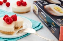 Trader Joe's Cheese-less Cheesecake Reviews and Info - Dairy-free, egg-free, nut-free, soy-free, and vegan-friendly. Two personal-size cheesecakes per box.