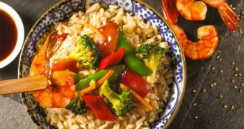 Garlic Shrimp & Vegetable Stir Fry Recipe with Ponzu Rice - naturally dairy-free, egg-free, nut-free dinner with gluten-free option. Japanese style meal ready in 25 minutes or less!