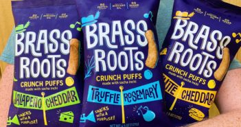 Brass Roots Crunch Puffs Reviews and Info - made with sacha inchi - vegan, grain-free, gluten-free, and top allergen-free. Available in Dairy-Free White Cheddar, Jalapeno Cheddar, Truffle Rosemary