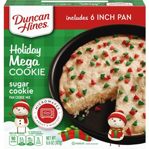 Duncan Hines Mega Cookies Reviews and Info - All dairy-free and kosher pareve. Pictured: seasonal Holiday Sugar Cookie with Tree Sprinkles