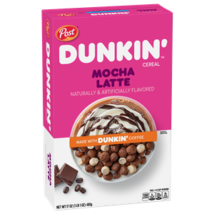 Dunkin' Cereal Reviews and Info - dairy-free and made without top allergens. Comes in Caramel Macchiato and Mocha Latte. (by Post Foods)