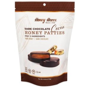 Honey Acres Honey Patties Reviews and Info - Unsweetened Dark Chocolate with Pure Honey in the Middle - in 4 Dairy-Free Flavors.