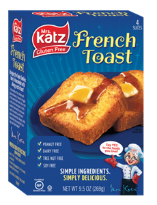 Katz Gluten Free French Toast Reviews and Info - certified gluten-free, kosher pareve. Dairy-free, nut-free, and soy-free. Frozen and ready to toast!